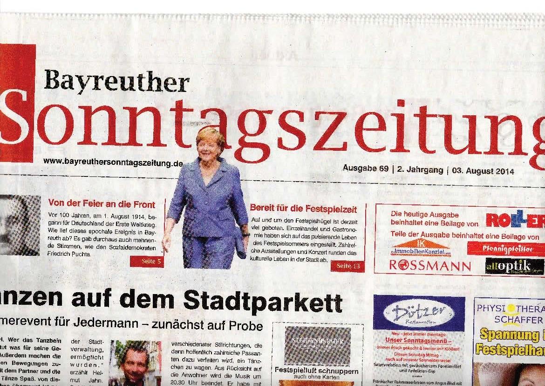 Bilder für die BAYREUTHER SONNTAGSZEITUNG - Angela Merkel_Seite_1